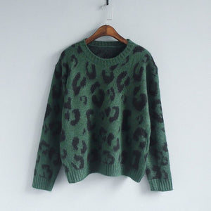 Amolapha Women Leopard Print Knitted Jumpers Tops Woman Soft Printted Knitting 5 Color Sweaters