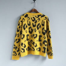 Load image into Gallery viewer, Amolapha Women Leopard Print Knitted Jumpers Tops Woman Soft Printted Knitting 5 Color Sweaters