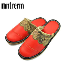 Load image into Gallery viewer, Mntrerm 2018 Winter Warm Home Slippers Couples Genuine Leather Leisure Warm Wool Women Indoor Floor Slippers pantufa zapatillas