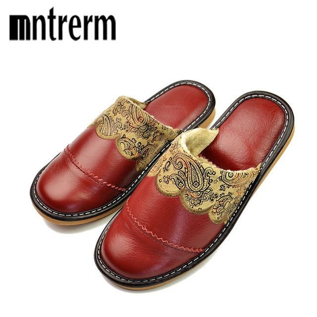 Mntrerm 2018 Winter Warm Home Slippers Couples Genuine Leather Leisure Warm Wool Women Indoor Floor Slippers pantufa zapatillas