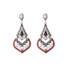 Load image into Gallery viewer, KISS ME Trendy Geometric Geometric Crown Imitation Pearl Acrylic Crystal Drop Earrings for Women Fashion Jewelry