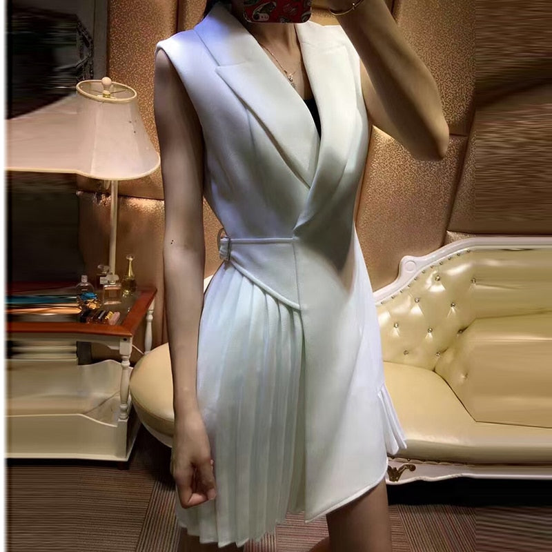 High QUALITY Newest 2018 Designer Runway Dress Women's Sleeveless Pleated Notched Collar Wrap Dress