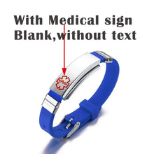 Load image into Gallery viewer, Engraving Custom ID Text Name Medical Alert Bracelet for Women Emergency Remind Jewelry Red Silicone Adjustable Size