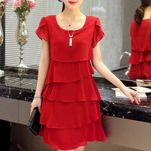Load image into Gallery viewer, Summer Chiffon Dress The New Fashion Women Plus Size 5XL Loose Cascading Ruffle Red Dresses Causal Ladies Elegant Party Cocktail