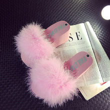 Load image into Gallery viewer, Fur Furry Slide Sweet Ostrich Feather Thick Bottom Beach Female Sandals Hair Flip Flops Women Home Slippers Fenty playform Soft