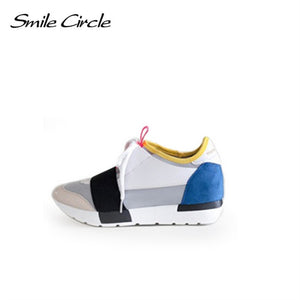 Smile Circle 2018 Spring Autumn Casual Shoes Womon Fashion Pointed toe Lace-up Sneakers For Women Flat Platform Shoes woman