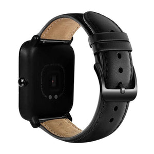 Eastar 20mm Leather Strap Black Buckle For Xiaomi Huami Amazfit Bip BIT Lite Youth Smart Watch Wearable Wrist Bracelet Watchband