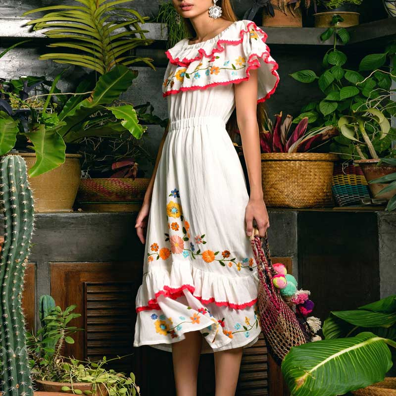 BOHO INSPIRED white midi Dress doubled ruffled shoulders slash neck frilled summer dresses Crochet trimming embroidery vestidos