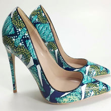 Load image into Gallery viewer, Keshangjia  2018 spring new women pumps printing flowers shoes sexy pointed toe thin high heel party wedding shoes females
