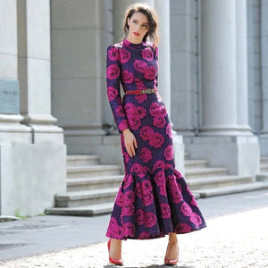 Vintage Flowers Slim long maxi Mermaid Dress Plus Size Women Clothing Stand Collar Long Sleeve Party Dresses Robe Femme