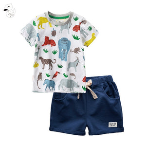 BINIDUCKLING Children Sets Boy Cartoon T-shirts Shorts Summer Children Clothing Set Cotton Kids Outfits New Style Boys Clothes