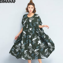 Load image into Gallery viewer, DIMANAF Women Dress Summer Plus Size Linen 2018 Batwing Pattern Prairie Chic Female Loose Large Oversized Clothing 100KG Fit