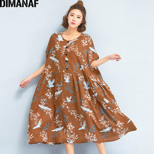 DIMANAF Women Dress Summer Plus Size Linen 2018 Batwing Pattern Prairie Chic Female Loose Large Oversized Clothing 100KG Fit