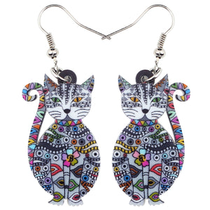 Bonsny Statement Acrylic Floral Cat Kitten Earrings Big Long Drop Dangle Fashion Animal Jewelry For Girls Women Lady Accessories