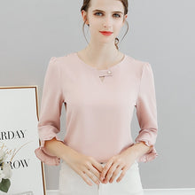 Load image into Gallery viewer, new spring and summer 2018 women ruffles sleeved chiffon blouse pearl Korean fashion solid slim female lady shirts tops 0.11 8.9