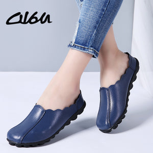 O16U Women Flats Shoes genuine leather Female casual shoes Ladies ballet Flower Breathable Soft non-slip sole Summer Shoes Mules