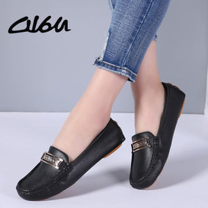 O16U Spring Women Flats Shoes handmade soft Leather Flats shoes Moccasins cowhide flexible ballerina flats loafers Shoes Women
