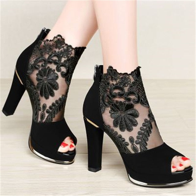 2018 spring and summer new thick with fish mouth sandals shoes women high heels Europe and the United States mesh shoes woman
