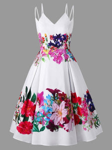 Gamiss Plus Size Floral Double Straps Swing Dress Sleeveless Dress Retro Vintage Hepburn Dresses Spaghetti Strap Party Vestidos