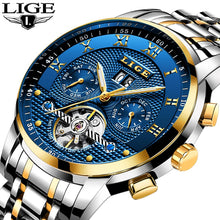 Load image into Gallery viewer, LIGE Mens Watches Top Brand Business Fashion Automatic Mechanical Watch Men Full Steel Sport Waterproof Watch Relogio Masculino