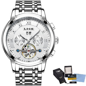 LIGE Mens Watches Top Brand Business Fashion Automatic Mechanical Watch Men Full Steel Sport Waterproof Watch Relogio Masculino