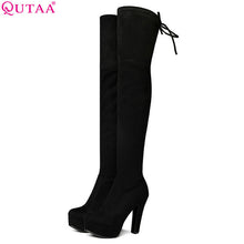 Load image into Gallery viewer, QUTAA 2018 Women Over The Knee Boots Elastic Band Square High Heel Sexy Women Party Shoes Black Office Winter Warm Size 34-43