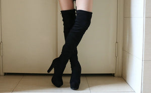QUTAA 2018 Women Over The Knee Boots Elastic Band Square High Heel Sexy Women Party Shoes Black Office Winter Warm Size 34-43