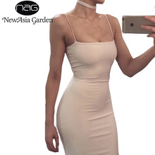 Load image into Gallery viewer, NewAsia Garden Double Layered Cotton Bodycon Dress Sexy Summer Dress Tank Sleeveless Party Dress Club Bandage Dresses Vestidos