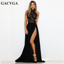 Load image into Gallery viewer, GACVGA Sexy Women Sleeveless Summer Dress Halter Neck Lace Crochet Evening Maxi Long Dress Backless Party Dresses Vestido