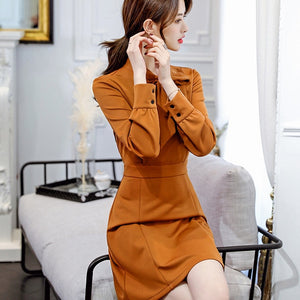 2018 New Bow Tie Stand Collar Loose Solid Color Dress Pink/Caramel