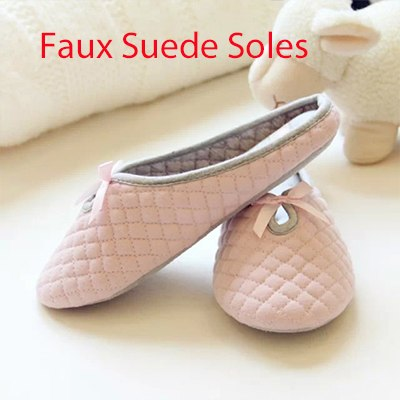 Cute Bow Tie Winter Women Home Slippers For Indoor Bedroom Soft Bottom Cotton Warm Shoes House Adult Flats Christmas Gift