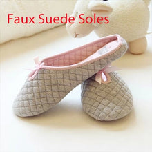 Load image into Gallery viewer, Cute Bow Tie Winter Women Home Slippers For Indoor Bedroom Soft Bottom Cotton Warm Shoes House Adult Flats Christmas Gift