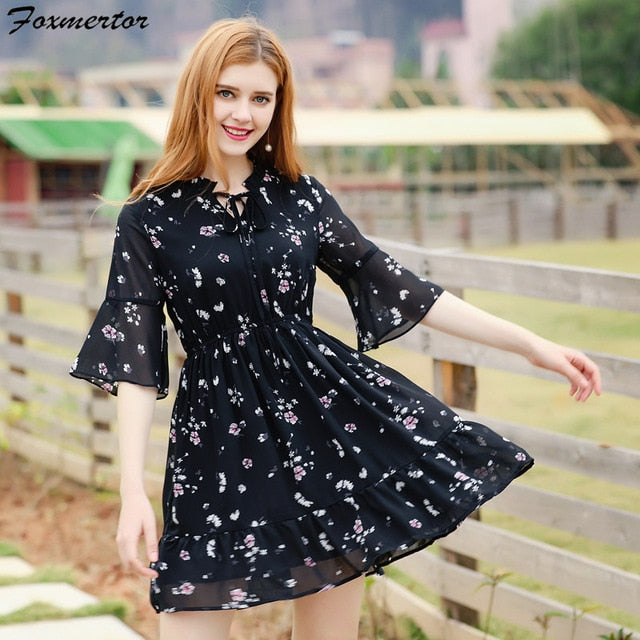 Beach Dresses Women Boho Summer Dress 2018 New Small Floral Casual Cute Floral Print Style Chiffon Short Party Dresses Vestidos