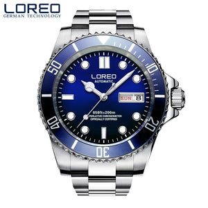 LOREO Mens Watches Top Brand Luxury Sapphire Diving 200M Luminous Watch Men Seagull movement Automatic Mechanical Wrist watches