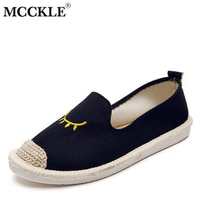 MCCKLE Women Flat Shoes Embroidery Eyes Moccasins For Woman Espadrille Slip On Female Casual Loafers Ladies Fashion Shoe