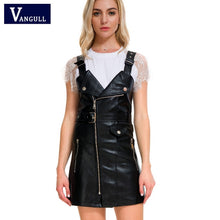 Load image into Gallery viewer, Vangull 2018 New Women Leather Dress Soft PU Faux Leather Dress V Nck Sexy Slim Retro Black Short Mini Dress vestido de festa