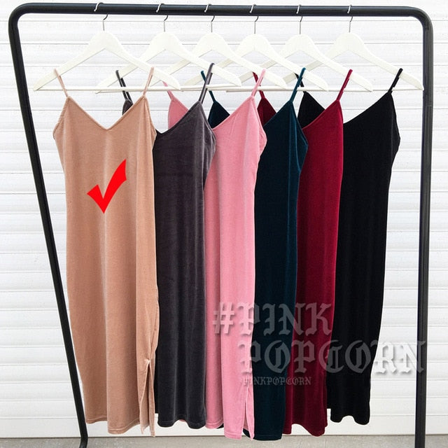 Velvet Sheath Women Dress Party Sexy Dress V Neck Sleeveless Dress Soft Elastic Patchwork Camisole Dresses