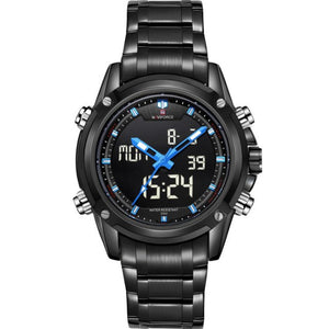 NAVIFORCE Quartz Watch Men Backlight Auto Date Display Army Outdoor Wristwatches Steel Business Multi-function Relogio Masculino