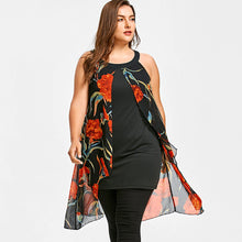 Load image into Gallery viewer, Gamiss Plus Size 5XL Sleeveless Floral Long Blouse O-Neck Women Casual Loose Shirt Summer Chiffon Panel Blouse Women Clothings