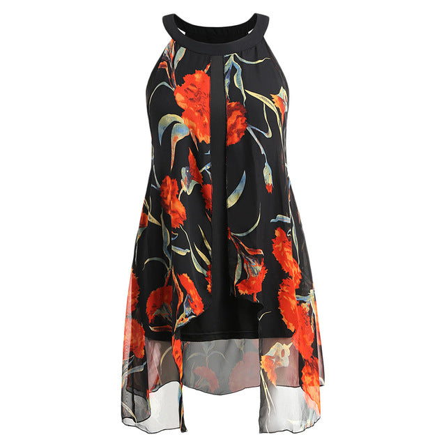 Gamiss Plus Size 5XL Sleeveless Floral Long Blouse O-Neck Women Casual Loose Shirt Summer Chiffon Panel Blouse Women Clothings