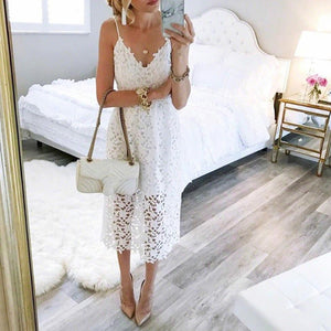 New Hot Summer Women Flower Lace Dress Mid-Calf Sleeveless Spaghetti Strap Beach Party Dresses