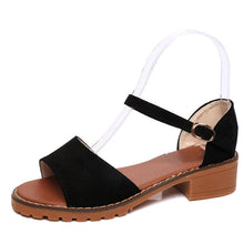 Load image into Gallery viewer, MCCKLE Women Sandals Flock Buckle Strap Flats Sewing Cover Heel Female Shoes Comfortable Low Heel For Ladies Fashion Footwear