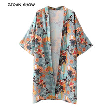 Load image into Gallery viewer, Vintage V neck Flower Crane Bird Print Kimono Shirt 2018 Woman Batwing sleeve Mid Long Loose Silk Blouse Femme Blusas Top