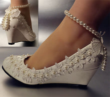 Load image into Gallery viewer, New design fashion wedges heel spike low high heeled white wedding shoes womens  ankle pearls butterfly bridal shoe