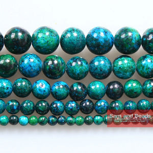 "wholesale 4.6.8.10.12. 14mm Chrysocolla stone Round Loose Spacer Beads 16"" Pick Size Free Shipping-CGB01"