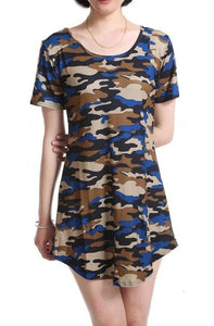 CUHAKCI 2018 Women Print Army Green Camouflage Dress Sexy Mini Dresses Summer Dress Short Sleeve Female Hot Sale Vestidos S-XXL