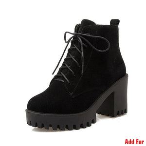 J&K Plus Size 34-43 Fashion Lace Up Nubuck Ankle Boots Thick High Heels Platform Shoes Woman Add Fur Skid Proof Winter Boots