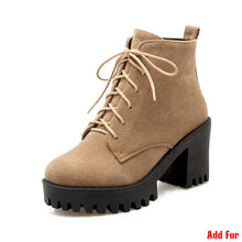 Load image into Gallery viewer, J&K Plus Size 34-43 Fashion Lace Up Nubuck Ankle Boots Thick High Heels Platform Shoes Woman Add Fur Skid Proof Winter Boots