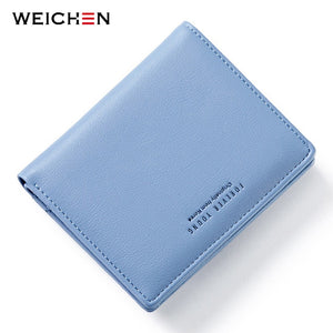 WEICHEN Thin Style Women Wallets Zipper Coin Bag in Back Blue Soft Leather Ladies Card Holder Slim Purse Female Wallet Small HOT
