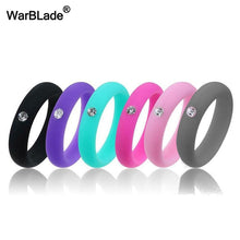 Load image into Gallery viewer, 5mm Size 4-9 Food Grade FDA Silicone Ring Hypoallergenic Crossfit Flexible Rubber Finger Rings With Rhinestone For Women Wedding